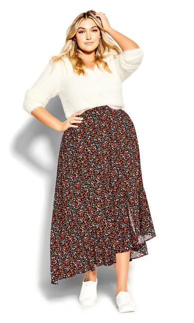 90's Floral Skirt - black