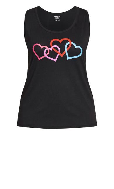 Heart Print Sleep Tank - black