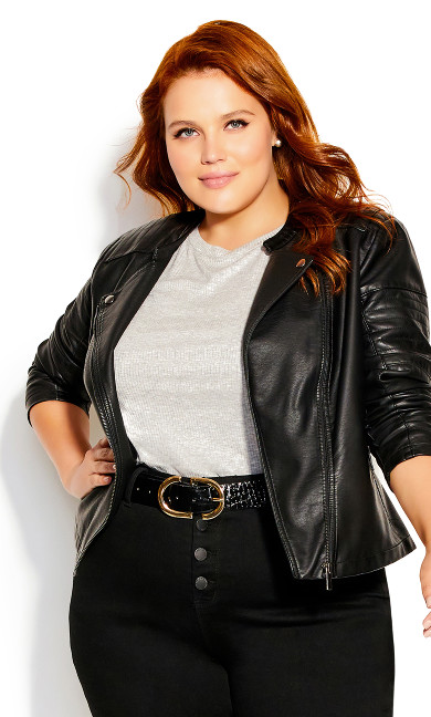 Plus Size First Love Jacket Black Moto Biker Lapel
