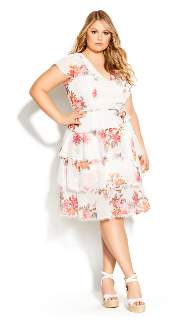 Plus Size Floral Crush Dress - ivory