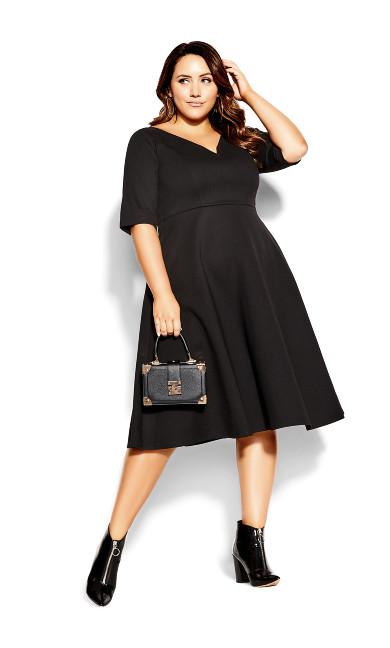 Cute Girl Elbow Sleeve Dress - black