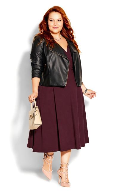 Cute Girl Elbow Sleeve Dress - oxblood
