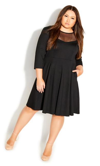 Plus Size Cute Mesh Dress - black