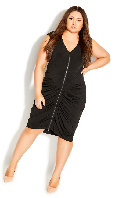 Plus Size Sexy Drape Dress - black