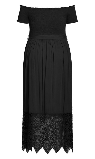 Crochet Hem Maxi Dress - black
