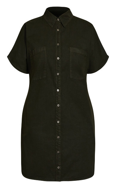 Denim Sleek Dress - olive