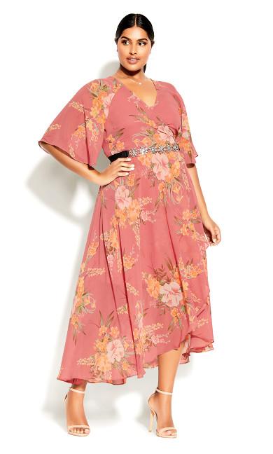 Grand Floral Maxi Dress - guava