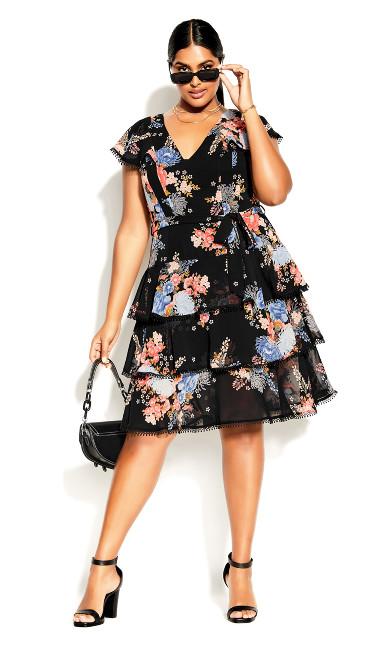 Poised Bloom Dress - black