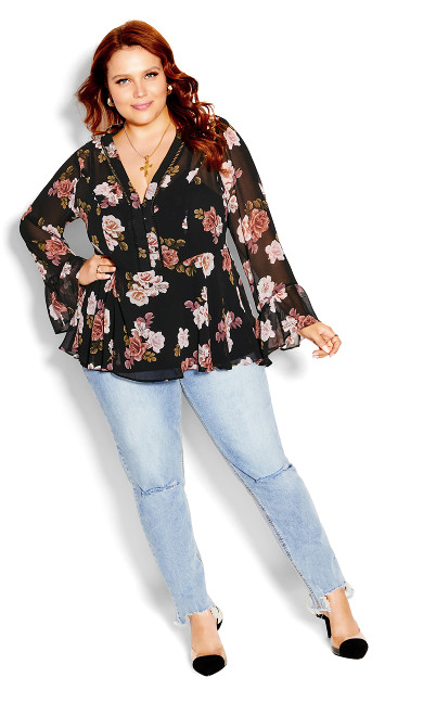 Floating Rose Top - black