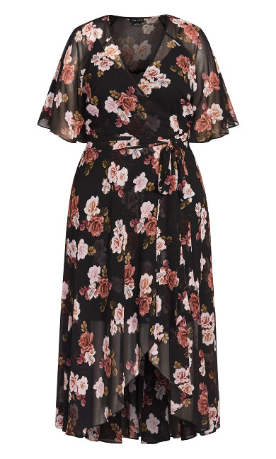 Dreamy Rose Maxi Dress - black