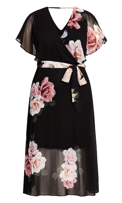 Tied Rose Maxi Dress - black