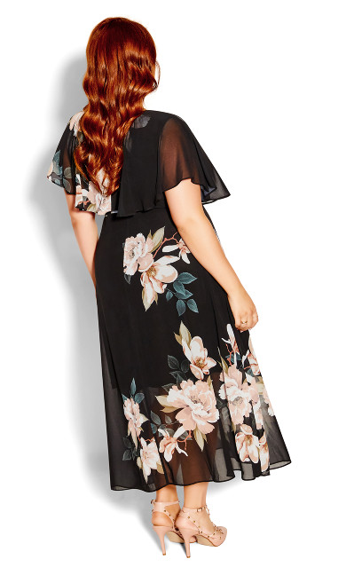 Bold Magnolia Maxi Dress - black