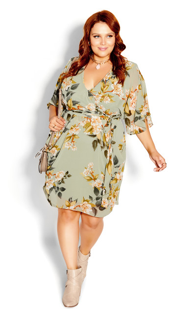 Magnolia Floral Dress - green
