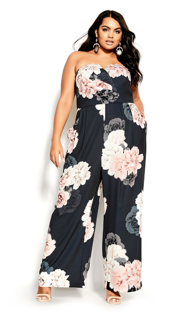 French Floral Jumpsuit - navy