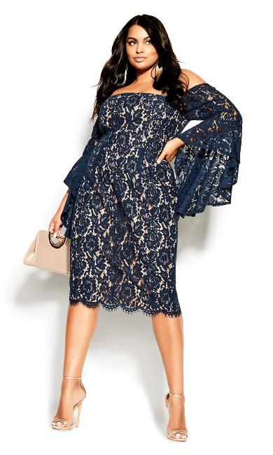 Plus Size Lace Amour Dress - navy