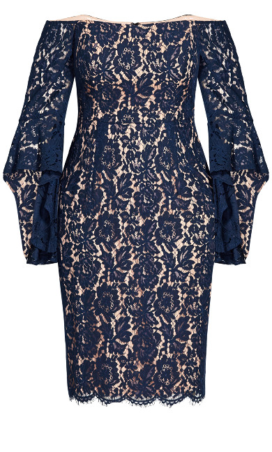 Lace Amour Dress - navy