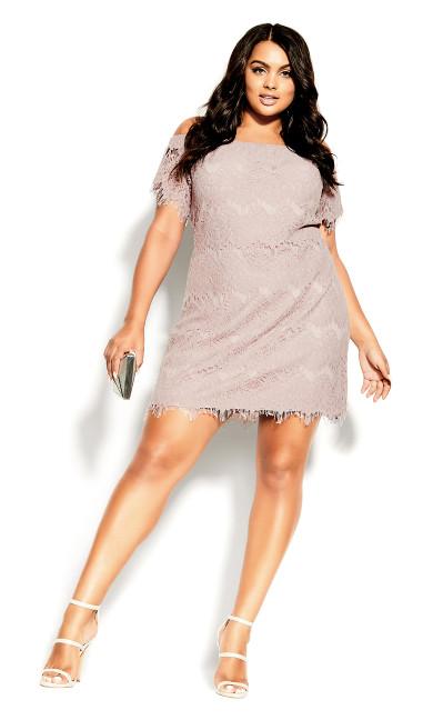 Plus Size Lace Off Shoulder Dress - soft blush