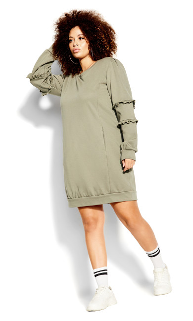 Chilled Fringe Dress - sage