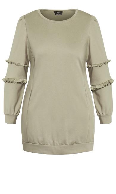 Chilled Fringe Dress - sage