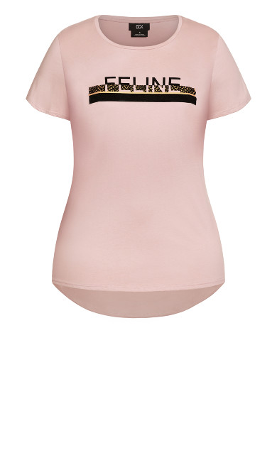 Feline Tee - dusty rose