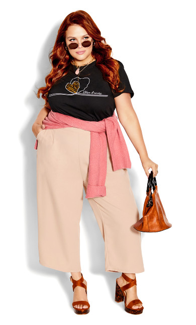 Button Crop Pant - rose punch