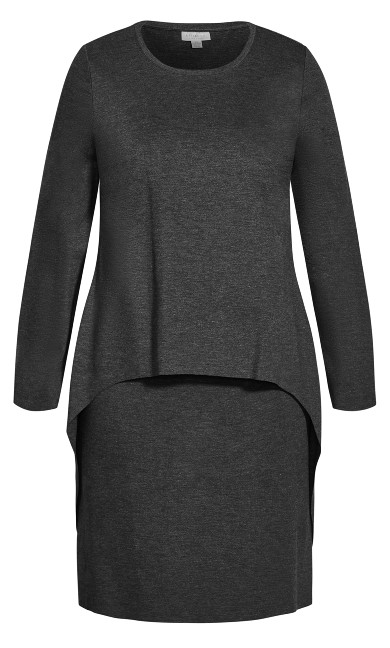 Double Layer Dress - charcoal marle