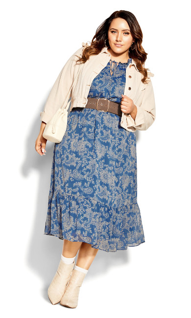Chic Paisley Dress - indigo
