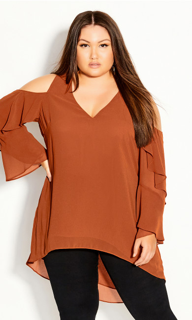 Plus Size Hi Lo Cold Shoulder Top - ginger