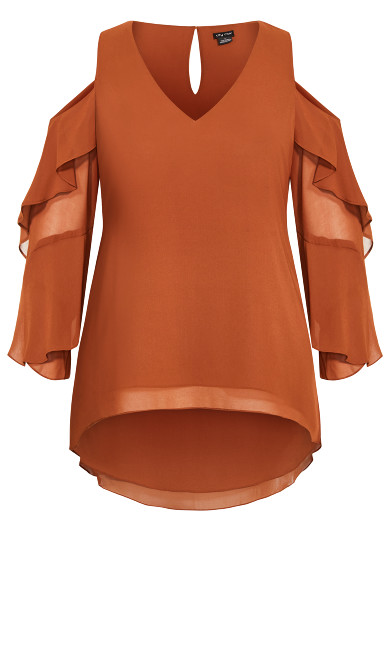 Hi Lo Cold Shoulder Top - ginger