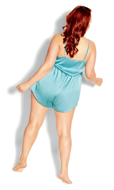 Stella Satin Playsuit - aqua blue