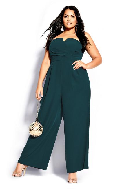 Plus Size So Sassy Jumpsuit - emerald