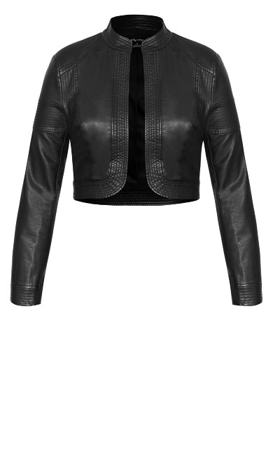 Pleather Bolero Jacket - black