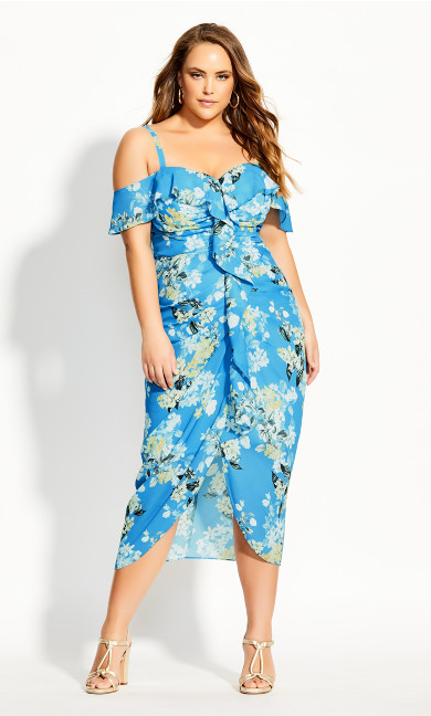 Whisper Floral Dress - blue