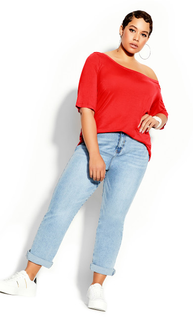 Plus Size Off Shoulder Tee - red