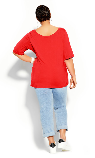 Off Shoulder Tee - red