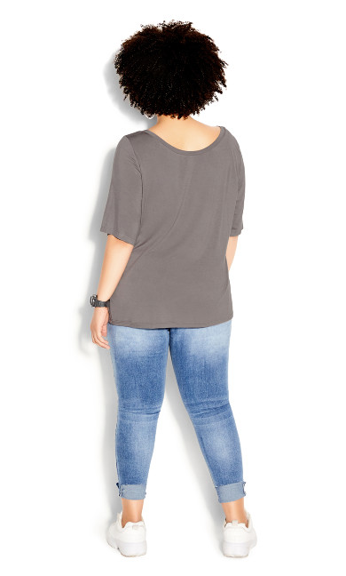 Off Shoulder Tee - slate