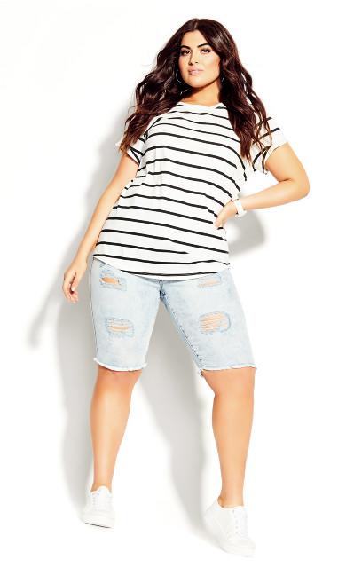Women's Plus Size Boyfriend Stripe Tee - white
