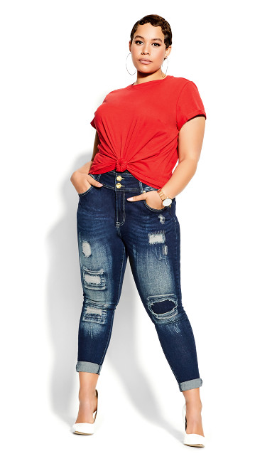 Plus Size Boyfriend Tee - red