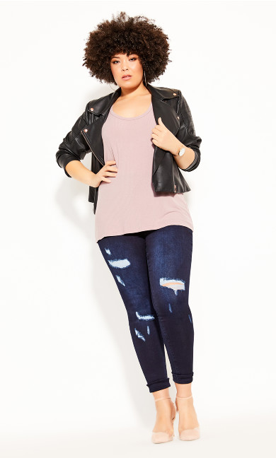 Racer Rib Tank - dusty rose