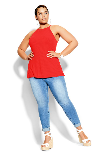 Plus Size Rib Tank - red