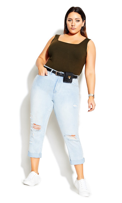 Women's Plus Size Square Neck Cami - khaki