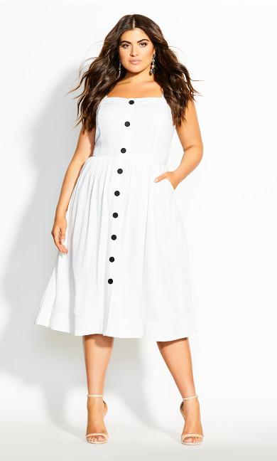Button Grace Dress - ivory