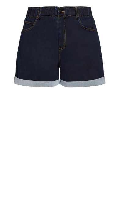 Ruffle Waist Short - dark denim