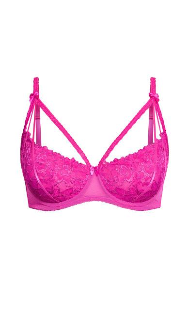 Olivia Strappy Lace Bra - pink