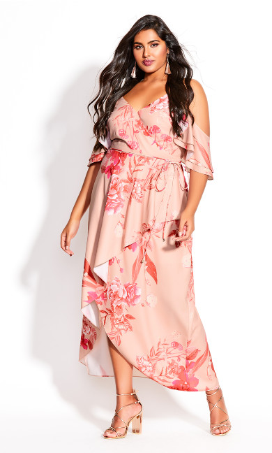 Plus Size Elegant Ruffle Maxi Dress - blush