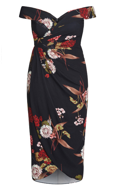 Exotic Blossom Maxi Dress - black