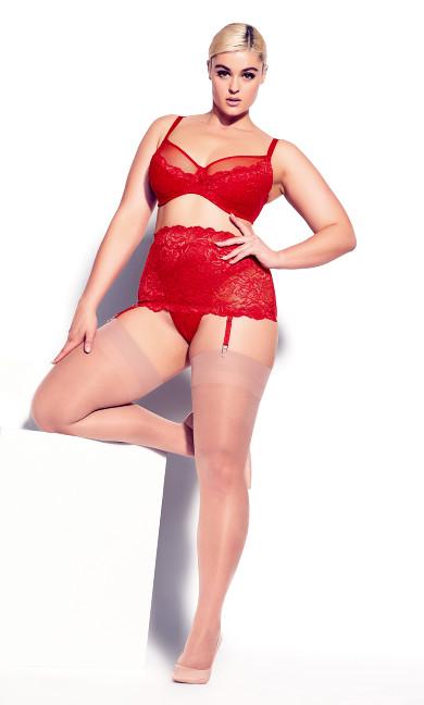Duet Garter Belt - ruby red