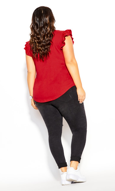 Leisure Frill Top - red