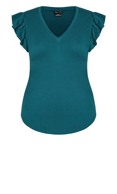 Leisure Frill Top - teal