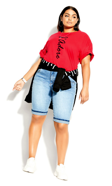 Plus Size Phrases Tee - red